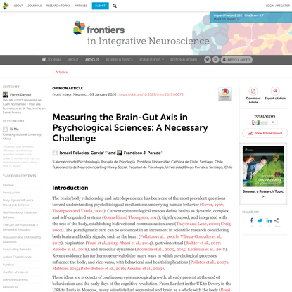 Measuring the Brain-Gut Axis in Psychological Sciences: A Necessary Challenge