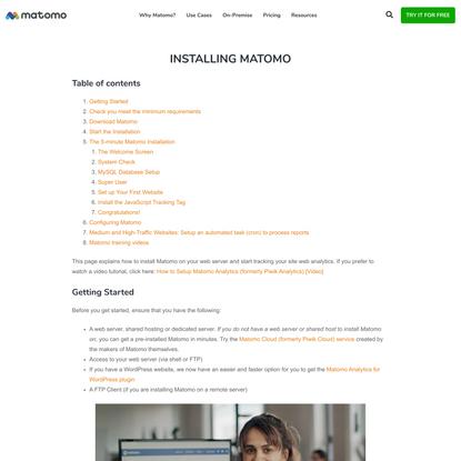 Installing Matomo - Analytics Platform - Matomo