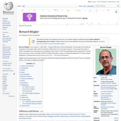 """Bernard Stiegler was THE philosopher of technology of 21st Century"""