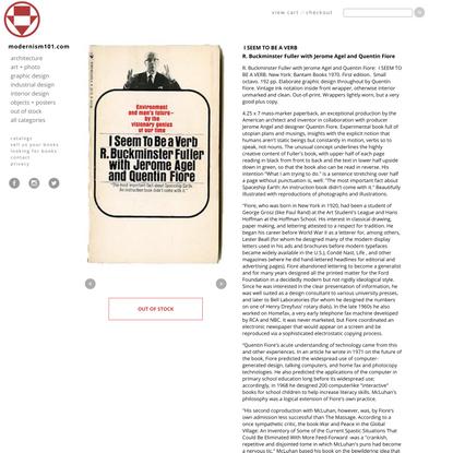 Modernism101.com | Fuller, R. Buckminster w/ Jerome Agel & Quentin Fiore: I SEEM TO BE A VERB. New York: Bantam Books 1970.