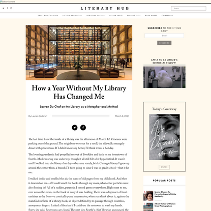 How a Year Without My Library Has Changed Me