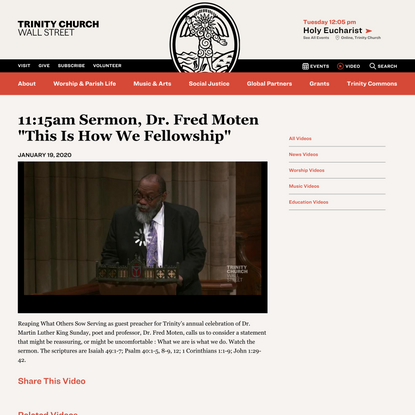 """11:15am Sermon, Dr. Fred Moten """"This Is How We Fellowship"""""""