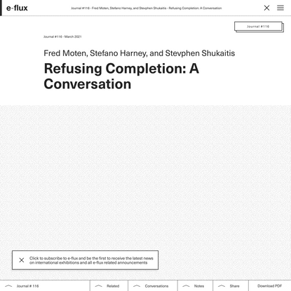 Refusing Completion: A Conversation