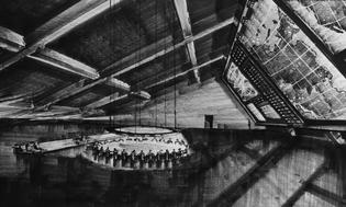 Ken Adams, production design sketch for war room in Dr. Strangelove