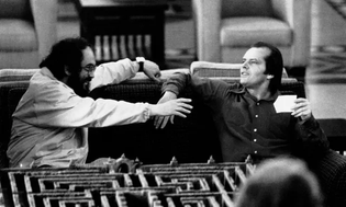 Stanley Kubrick and Jack Nicholson on the set of The Shining