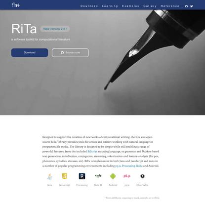 RiTa - a software toolkit for computational literature