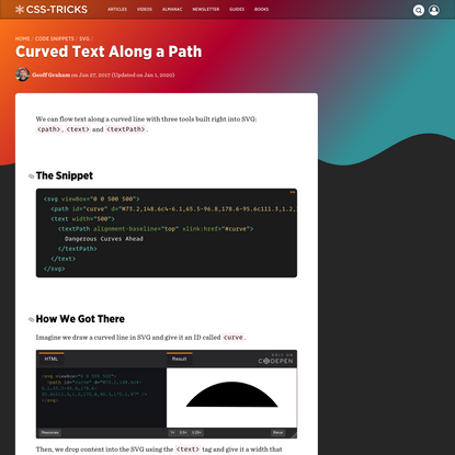 Curved Text Along a Path   CSS-Tricks
