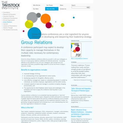 Group Relations - The Tavistock Institute