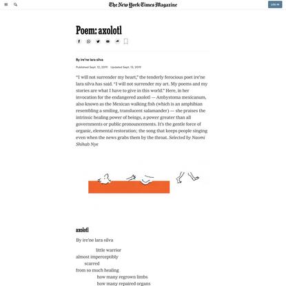 Poem: axolotl (Published 2019)