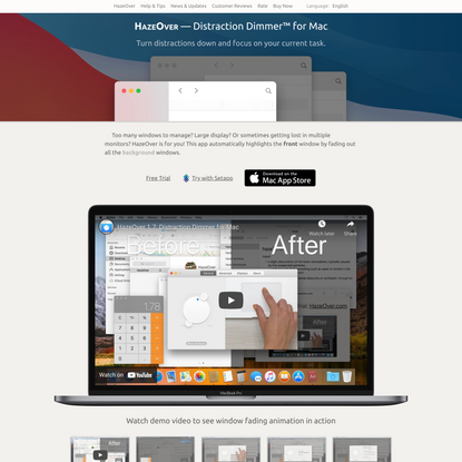 HazeOver: Distraction Dimmer™ for Productivity on Mac