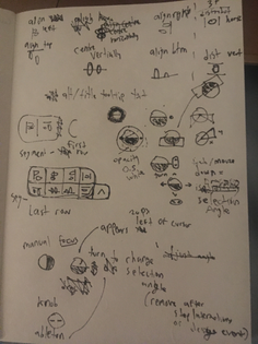 rough design notes for aligning, distributing and angled selecting
