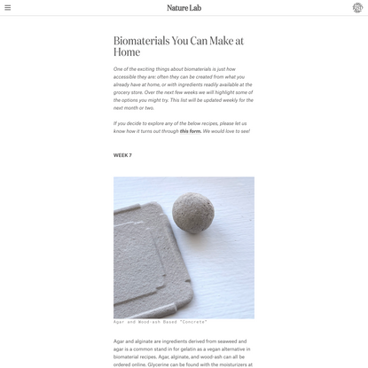 Nature Lab - Biomaterials You Can Make at Home