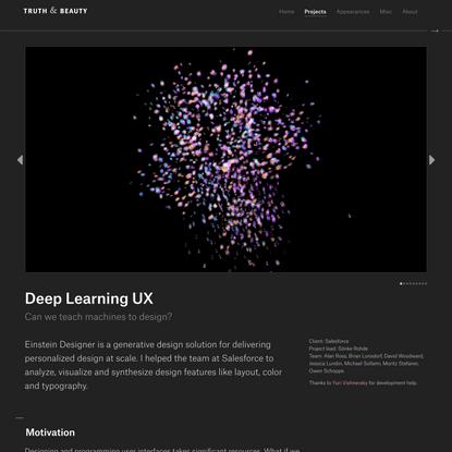 Truth & Beauty - Deep Learning UX