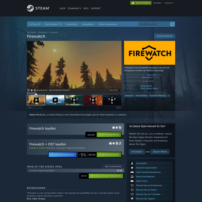 Firewatch bei Steam