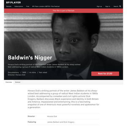 Watch Baldwin's Nigger - BFI Player