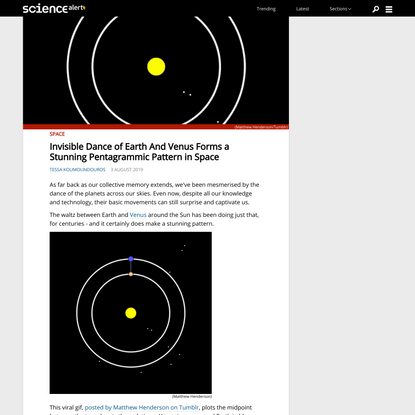 Invisible Dance of Earth And Venus Forms a Stunning Pentagrammic Pattern in Space