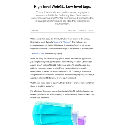 High-level WebGL. Low-level tags.