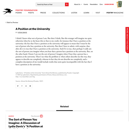 A Position at the University by Lydia Davis | Poetry Foundation