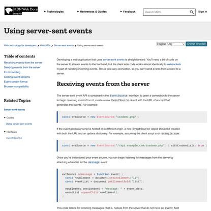 Using server-sent events - Web APIs | MDN