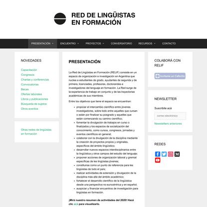 RELIF – Red de Lingüistas en Formación