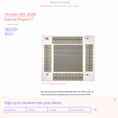 Data as Property?   Salomé Viljoen