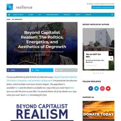Beyond Capitalist Realism: The Politics, Energetics, and Aesthetics of Degrowth - Resilience