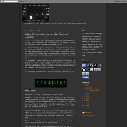 @Play Collected: @Play 87: Interview with Josh Ge, Creator of Cogmind