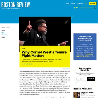 Why Cornel West's Tenure Fight Matters