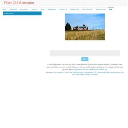 Filter CSS Generator