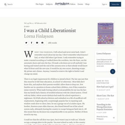 Lorna Finlayson · Diary: I was a Child Liberationist · LRB 18 February 2021