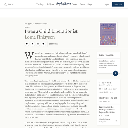 Lorna Finlayson · Diary: I was a Child Liberationist · LRB 18 February 2021