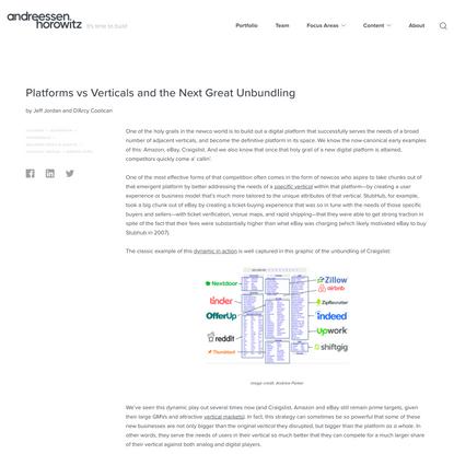 Platforms vs Verticals and the Next Great Unbundling - Andreessen Horowitz