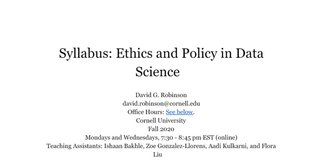 2020 Syllabus -- Ethics and Policy in Data Science .docx