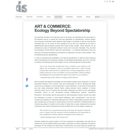 ART & COMMERCE: Ecology Beyond Spectatorship
