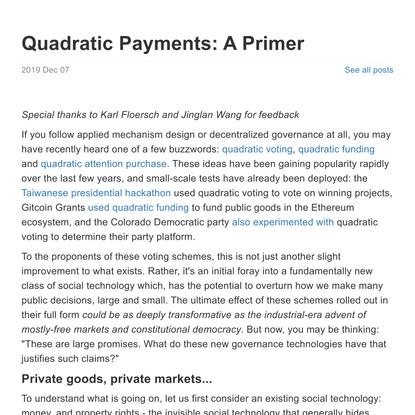 Quadratic Payments: A Primer