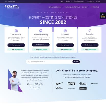 Krystal - The UK's Best Web Hosting Provider