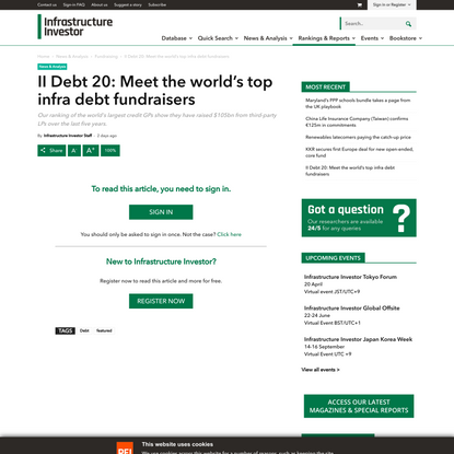 II Debt 20: Meet the world's top infra debt fundraisers