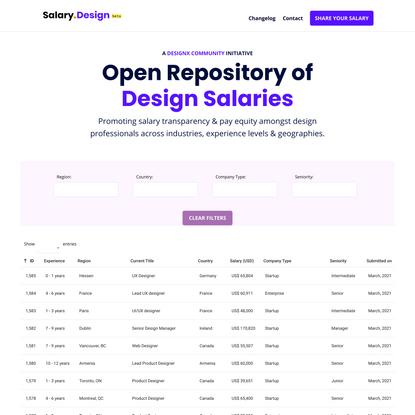 Salary.Design | Open Repository of Design Salaries