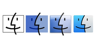 The evolution of Finder icons starting with Mac OS 7.6. Earlier systems used a Happy Mac-style icon for the Finder software.