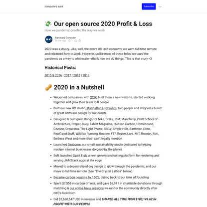 Our open source 2020 Profit & Loss