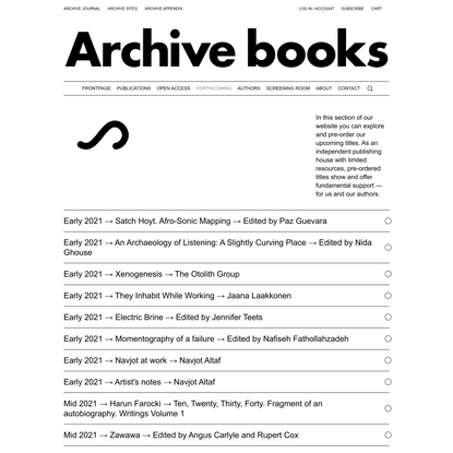 Forthcoming - Archive Books