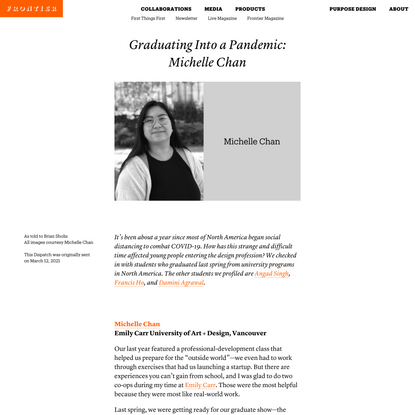 Graduating Into a Pandemic: Michelle Chan | Frontier