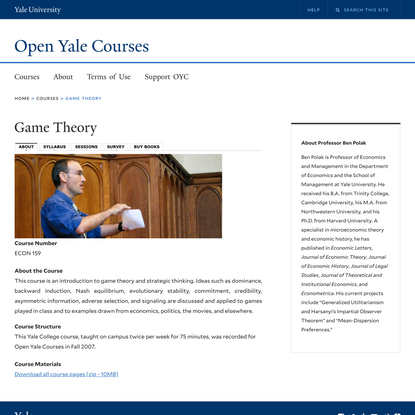 Game Theory | Open Yale Courses