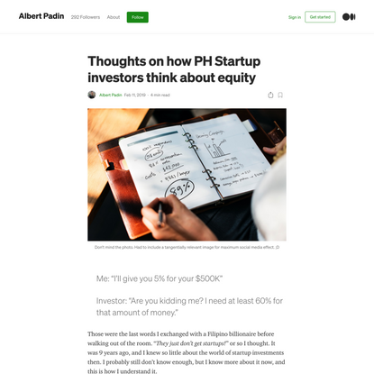 Thoughts on how PH Startup investors think about equity