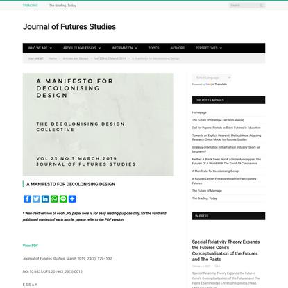 A Manifesto for Decolonising Design * Journal of Futures Studies