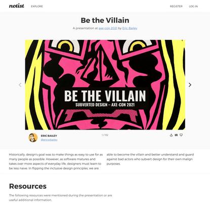 Be the Villain by Eric Bailey
