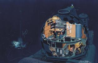 Cousteau's Conshelf III artist concept cutaway