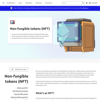 Non-fungible tokens (NFT)   ethereum.org