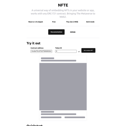NFTE - Embed NFT's in your site