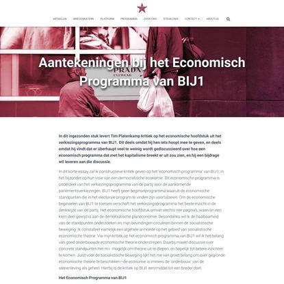 Aantekeningen bij het Economisch Programma van BIJ1